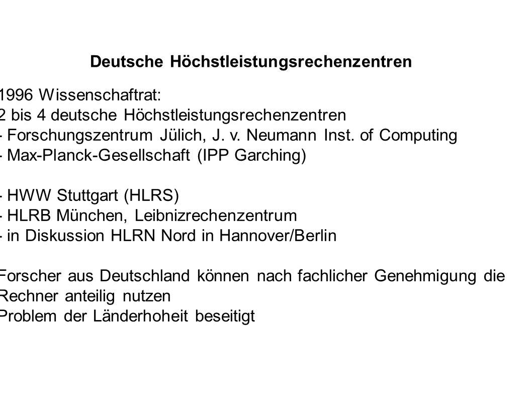 Deutsche Höchstleistungsrechenzentren 1996 Wissenschaftrat: 2 bis 4 deutsche Höchstleistungsrechenzentren - Forschungszentrum Jülich, J. v. Neumann In