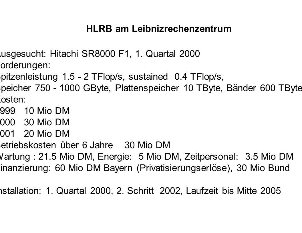 HLRB am Leibnizrechenzentrum Ausgesucht: Hitachi SR8000 F1, 1. Quartal 2000 Forderungen: Spitzenleistung 1.5 - 2 TFlop/s, sustained 0.4 TFlop/s, Speic