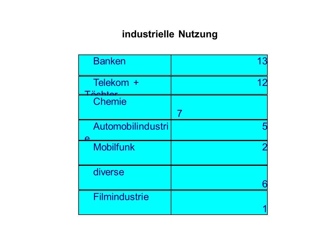 industrielle Nutzung Banken13 Telekom + Töchter 12 Chemie 7 Automobilindustri e 5 Mobilfunk 2 diverse 6 Filmindustrie 1