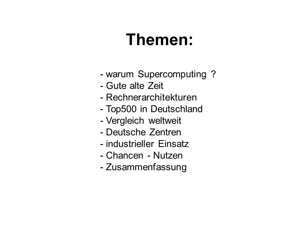 Themen: - warum Supercomputing ? - Gute alte Zeit - Rechnerarchitekturen - Top500 in Deutschland - Vergleich weltweit - Deutsche Zentren - industriell