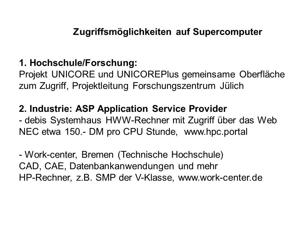 Zugriffsmöglichkeiten auf Supercomputer 1. Hochschule/Forschung: Projekt UNICORE und UNICOREPlus gemeinsame Oberfläche zum Zugriff, Projektleitung For