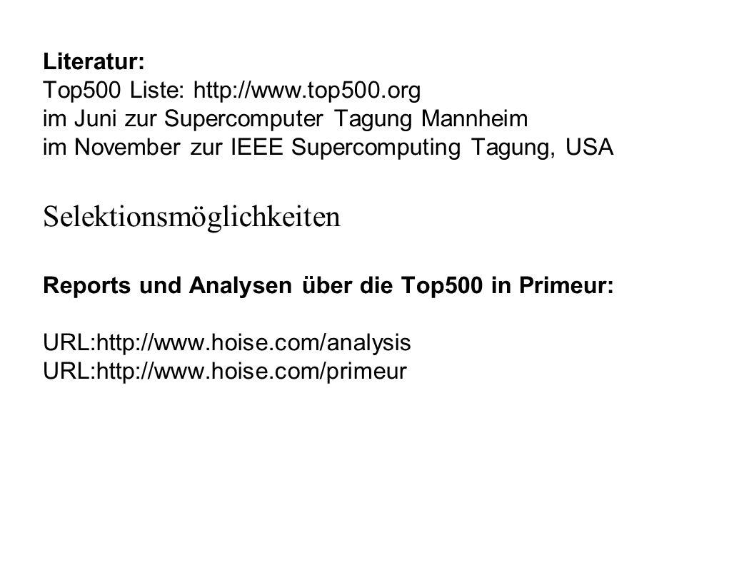 Literatur: Top500 Liste: http://www.top500.org im Juni zur Supercomputer Tagung Mannheim im November zur IEEE Supercomputing Tagung, USA Selektionsmög