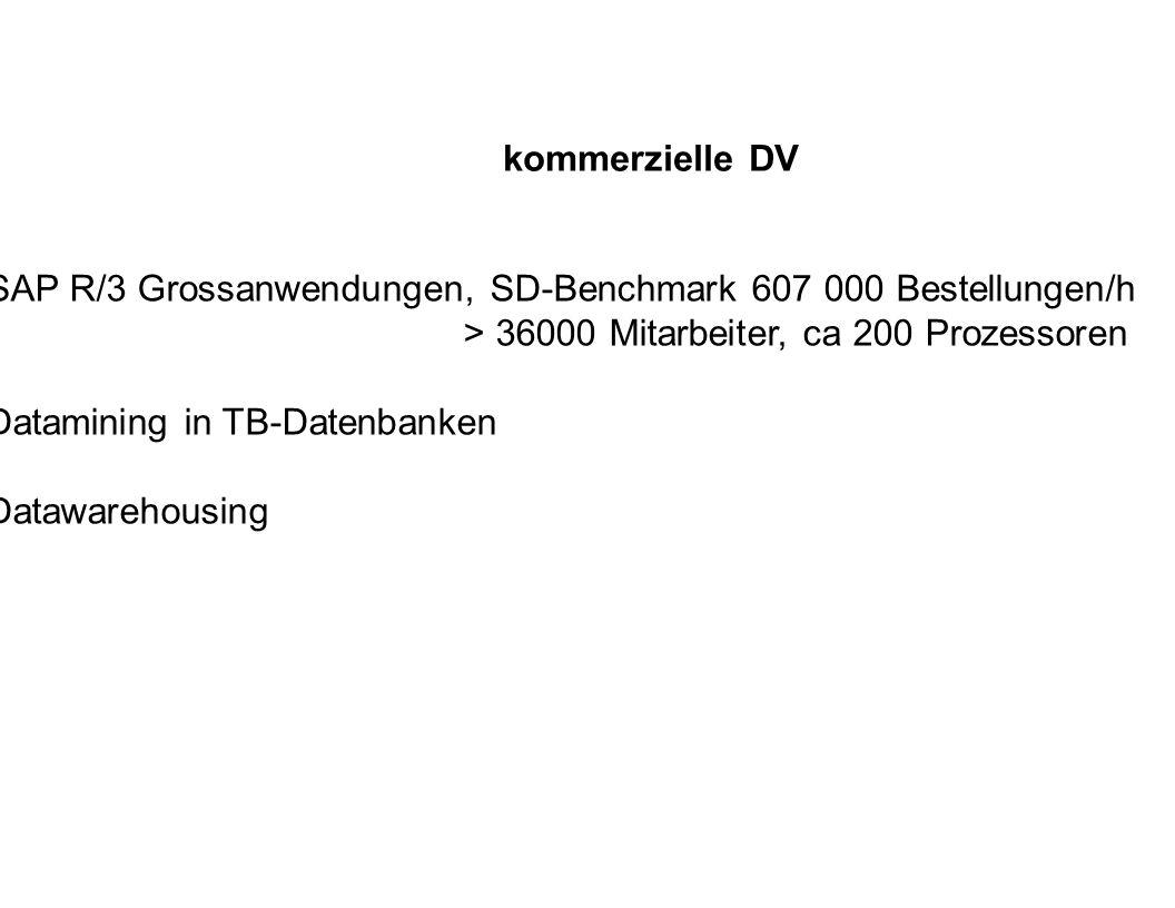 kommerzielle DV SAP R/3 Grossanwendungen, SD-Benchmark 607 000 Bestellungen/h > 36000 Mitarbeiter, ca 200 Prozessoren Datamining in TB-Datenbanken Dat