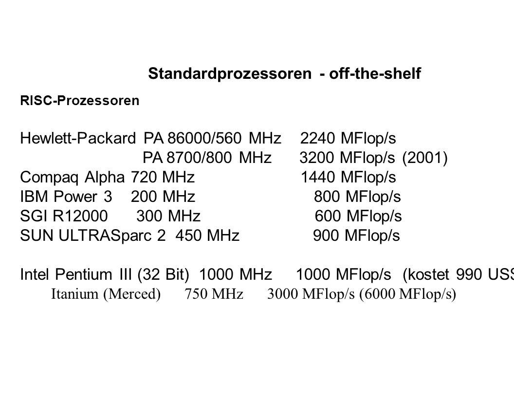 heutige Rechnerarchitekturen massiv-parallele Systeme (MPP): Cray T3E (Alpha), SGI SN1 (MIPS), IBM RS/6000 SP PowerPC symmetrischen Multiprozessorsysteme (SMP) und Cluster: Compaq GS320 (32 Proz.), HP V-Class (32), IBM RS/6000 SP (24), SGI Origin (128), SUN E10000 (Starfire) (64) parallele Vektorprozessoren (PVP) und Cluster: Fujitsu Siemens VPP5000, Hitachi SR8000 (?), NEC SX-5, Cray Inc.