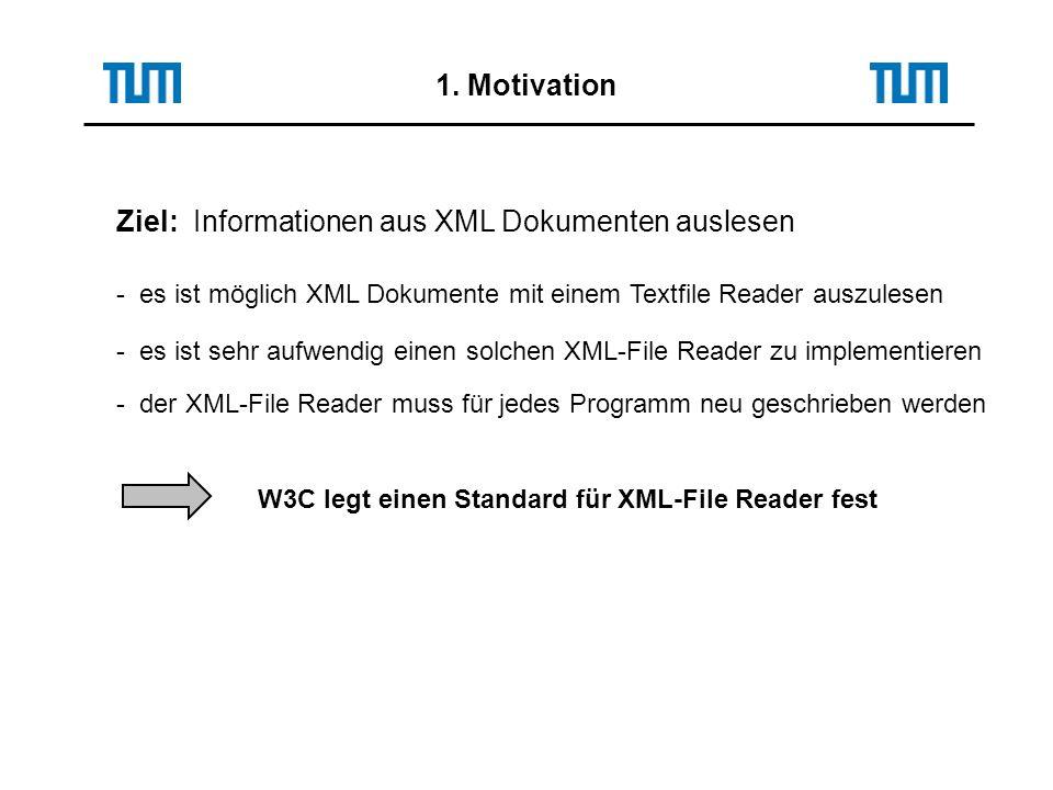 1. Motivation Ziel: Informationen aus XML Dokumenten auslesen - es ist möglich XML Dokumente mit einem Textfile Reader auszulesen - es ist sehr aufwen