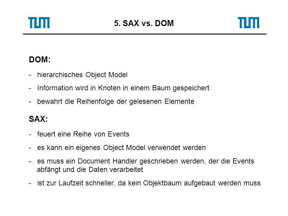 5. SAX vs. DOM DOM: - hierarchisches Object Model - Information wird in Knoten in einem Baum gespeichert - bewahrt die Reihenfolge der gelesenen Eleme