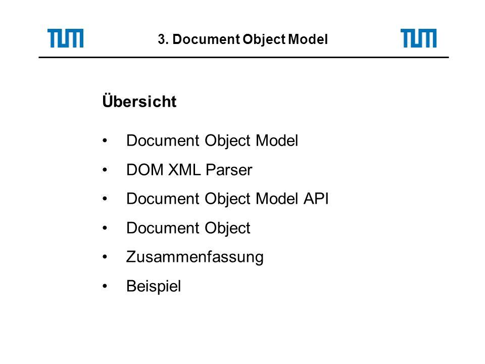 3. Document Object Model Übersicht Document Object Model DOM XML Parser Document Object Model API Document Object Zusammenfassung Beispiel