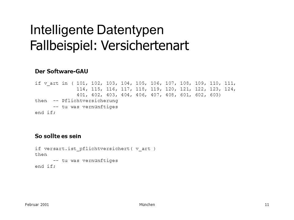 Februar 2001München11 Intelligente Datentypen Fallbeispiel: Versichertenart Der Software-GAU if v_art in ( 101, 102, 103, 104, 105, 106, 107, 108, 109, 110, 111, 114, 115, 116, 117, 118, 119, 120, 121, 122, 123, 124, 401, 402, 403, 404, 406, 407, 408, 601, 602, 603) then -- Pflichtversicherung -- tu was vernünftiges end if; So sollte es sein if versart.ist_pflichtversichert( v_art ) then -- tu was vernünftiges end if;