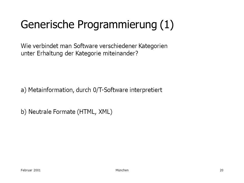 Februar 2001München20 Generische Programmierung (1) Wie verbindet man Software verschiedener Kategorien unter Erhaltung der Kategorie miteinander? a)