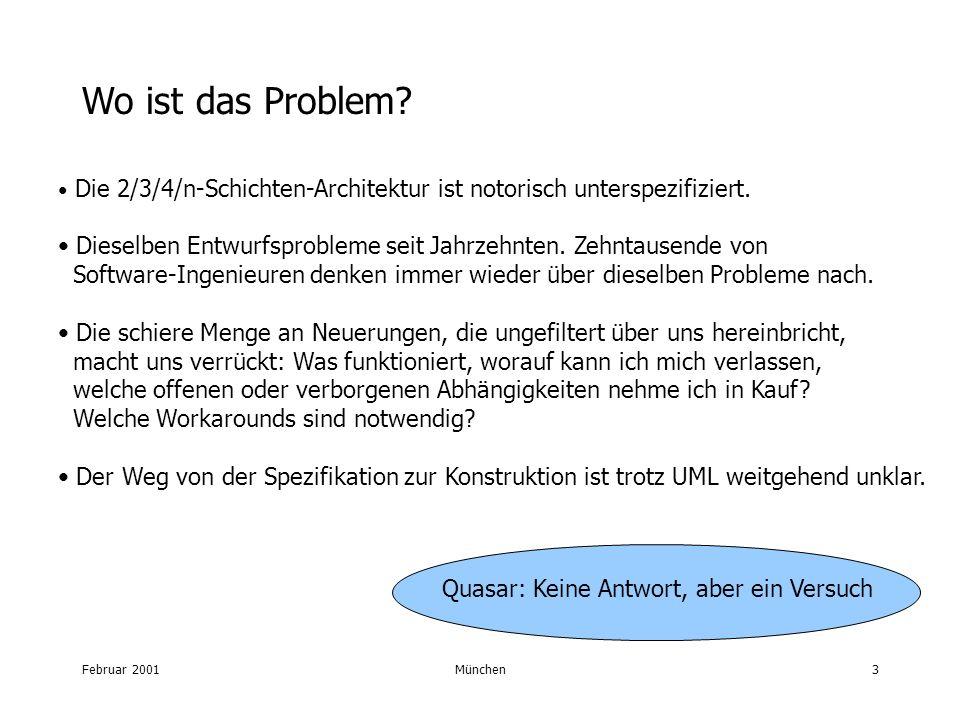 Februar 2001München3 Wo ist das Problem? Die 2/3/4/n-Schichten-Architektur ist notorisch unterspezifiziert. Dieselben Entwurfsprobleme seit Jahrzehnte