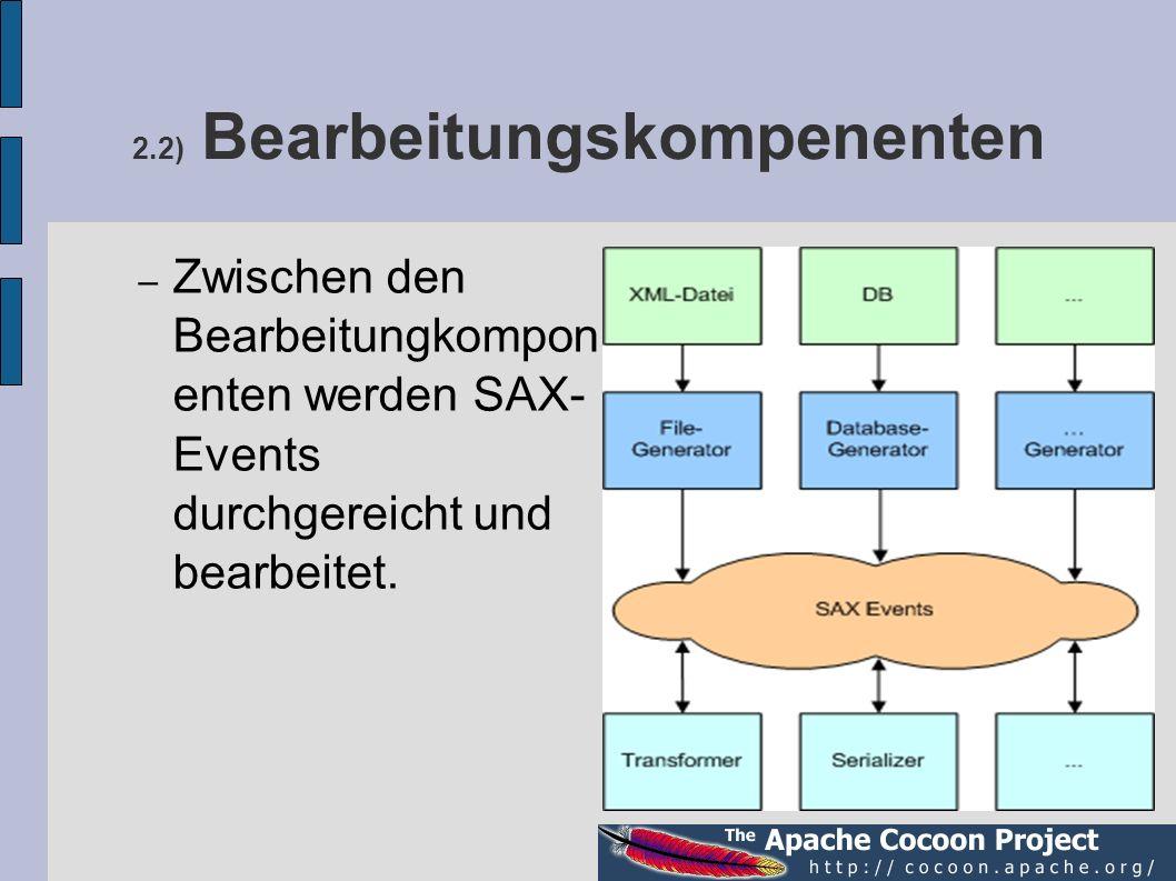 2.2) Bearbeitungskompenenten – Zwischen den Bearbeitungkompon enten werden SAX- Events durchgereicht und bearbeitet.