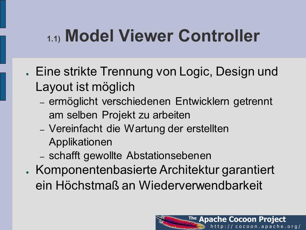 1.1) Model Viewer Controller Eine strikte Trennung von Logic, Design und Layout ist möglich – ermöglicht verschiedenen Entwicklern getrennt am selben