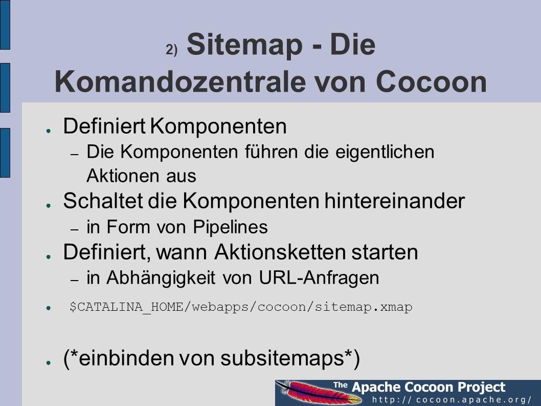 2) Sitemap - Die Komandozentrale von Cocoon Definiert Komponenten – Die Komponenten führen die eigentlichen Aktionen aus Schaltet die Komponenten hint