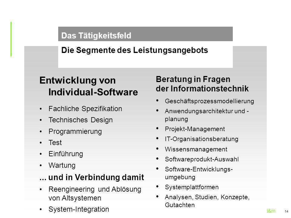 sd&m 14 Die Segmente des Leistungsangebots Das Tätigkeitsfeld Entwicklung von Individual-Software Fachliche Spezifikation Technisches Design Programmierung Test Einführung Wartung...