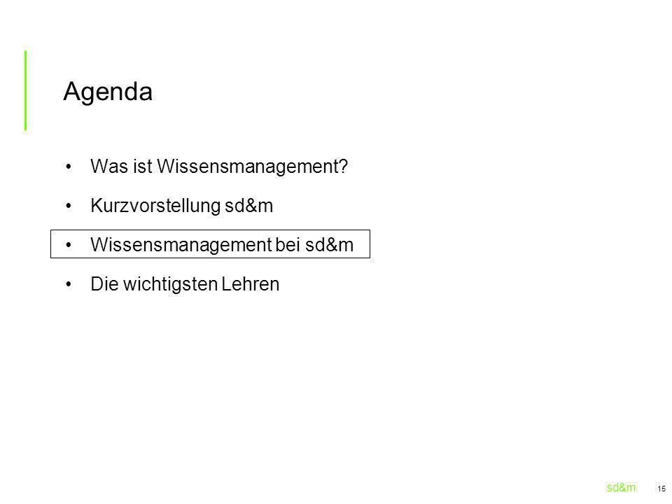 sd&m 15 Agenda Was ist Wissensmanagement? Kurzvorstellung sd&m Wissensmanagement bei sd&m Die wichtigsten Lehren