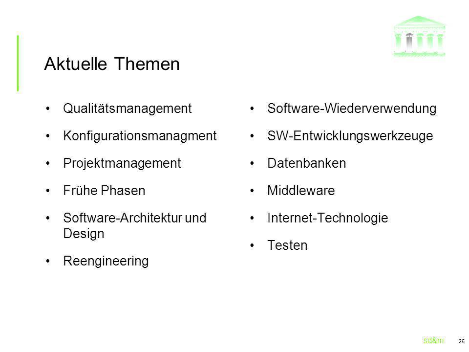 sd&m 25 Aktuelle Themen Qualitätsmanagement Konfigurationsmanagment Projektmanagement Frühe Phasen Software-Architektur und Design Reengineering Software-Wiederverwendung SW-Entwicklungswerkzeuge Datenbanken Middleware Internet-Technologie Testen