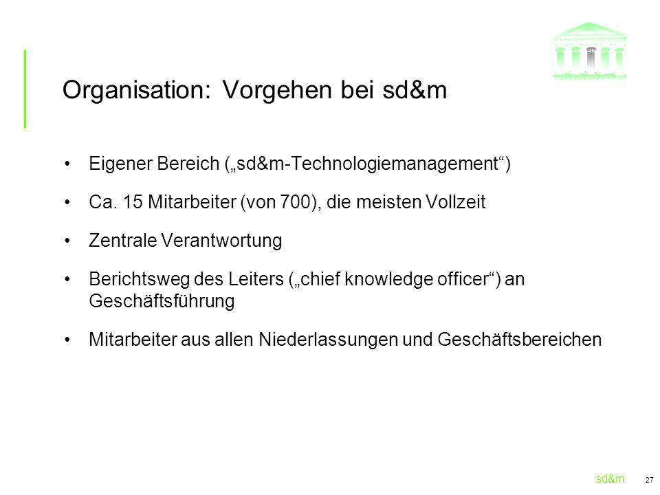 sd&m 27 Organisation: Vorgehen bei sd&m Eigener Bereich (sd&m-Technologiemanagement) Ca. 15 Mitarbeiter (von 700), die meisten Vollzeit Zentrale Veran