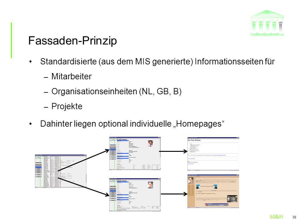 sd&m 35 Fassaden-Prinzip Standardisierte (aus dem MIS generierte) Informationsseiten für – Mitarbeiter – Organisationseinheiten (NL, GB, B) – Projekte