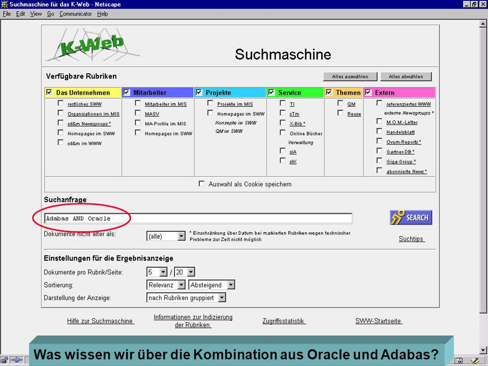 sd&m 43 Eine Suchmaschine Was wissen wir über die Kombination aus Oracle und Adabas?