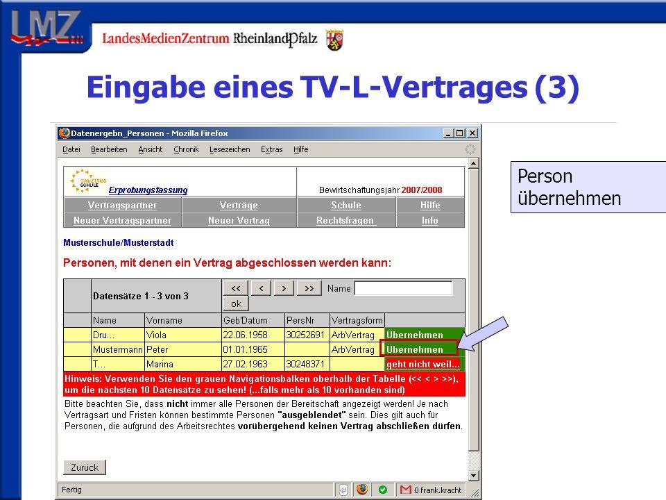 Eingabe eines TV-L-Vertrages (3) Person übernehmen