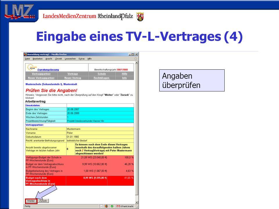 Eingabe eines TV-L-Vertrages (4) Angaben überprüfen
