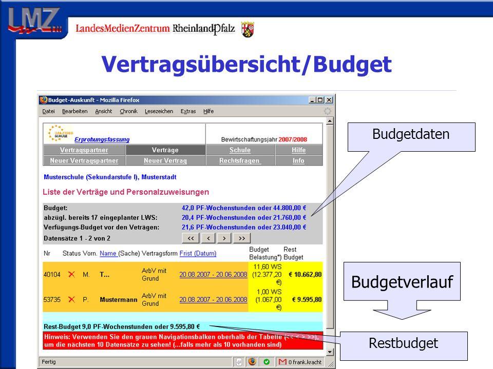 Vertragsübersicht/Budget Budgetverlauf Budgetdaten Restbudget