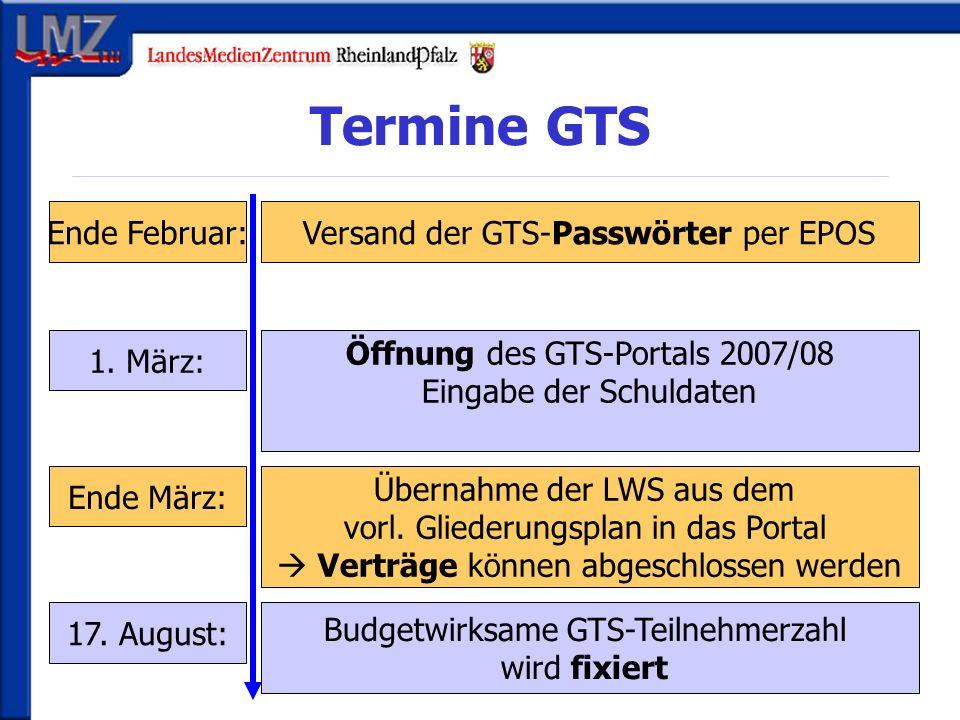 Termine GTS Ende Februar: 1. März: Ende März: 17.