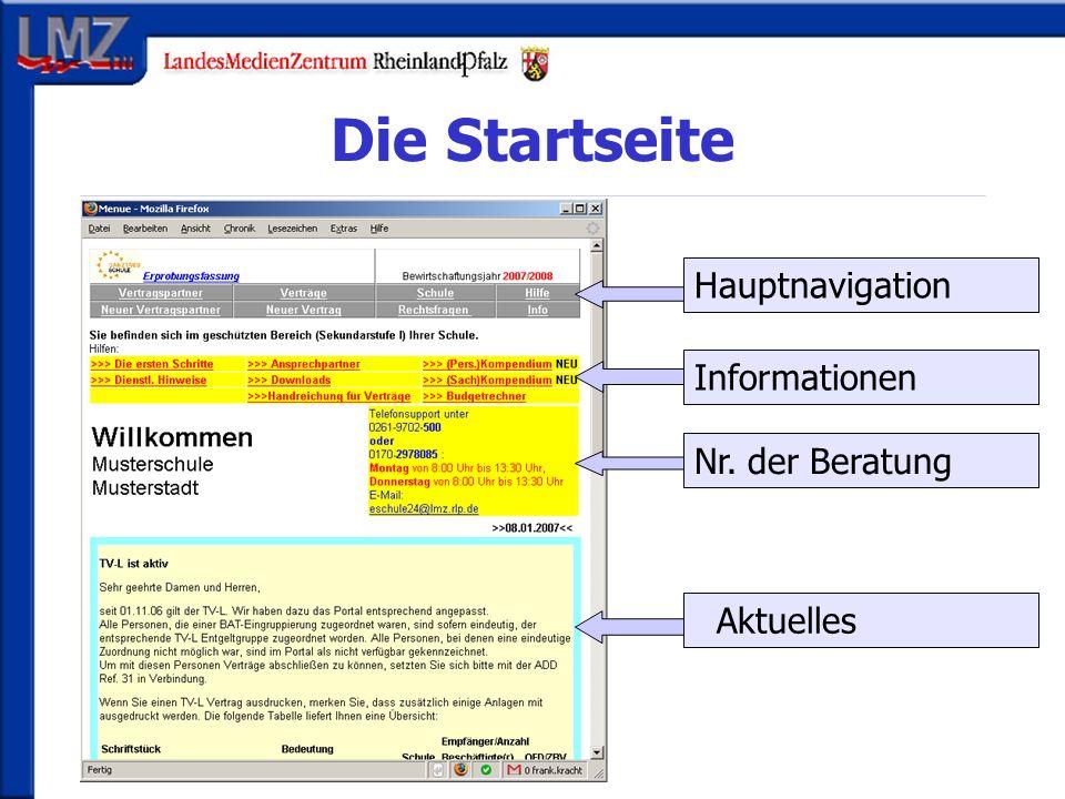 Die Startseite Hauptnavigation Nr. der Beratung Aktuelles Informationen