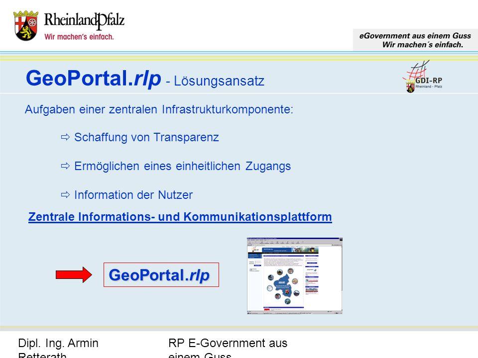 RP E-Government aus einem Guss Dipl. Ing. Armin Retterath, LVermGeo – KGSt. GDI-RP - Seite 12 GeoPortal.rlp - Lösungsansatz Aufgaben einer zentralen I