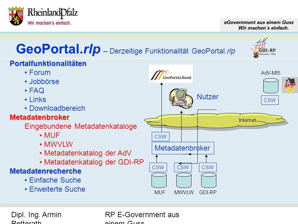RP E-Government aus einem Guss Dipl. Ing. Armin Retterath, LVermGeo – KGSt. GDI-RP - Seite 15 GeoPortal.rlp – Derzeitige Funktionalität GeoPortal.rlp