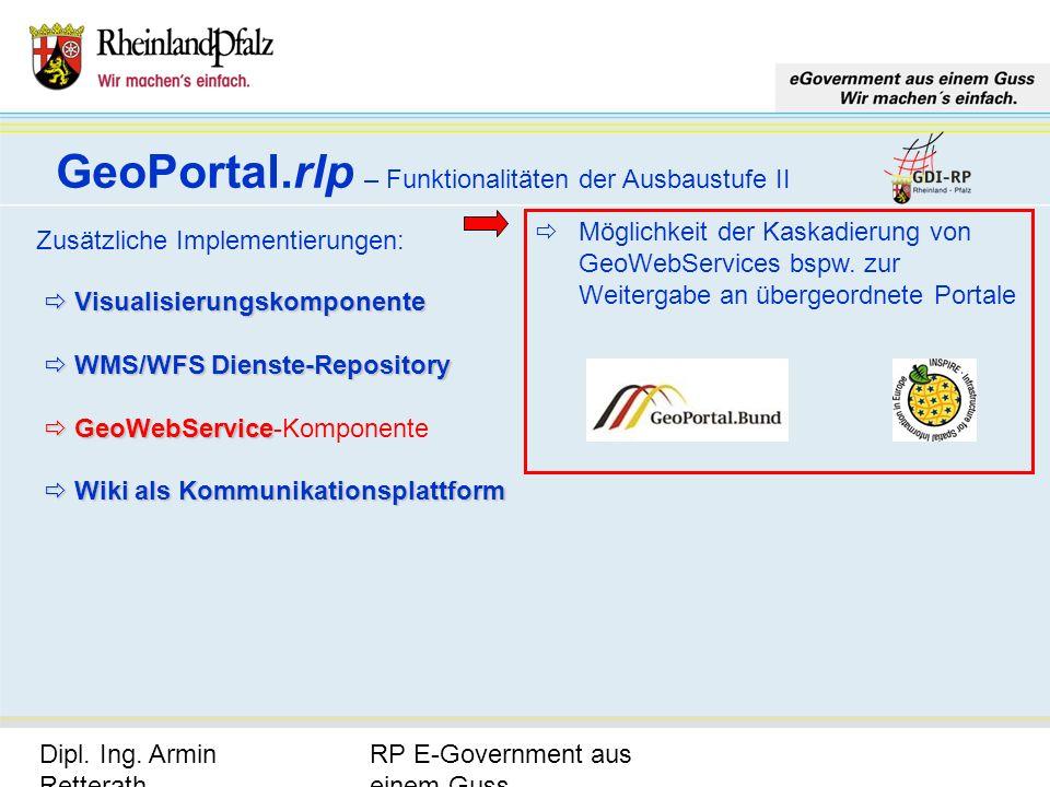RP E-Government aus einem Guss Dipl. Ing. Armin Retterath, LVermGeo – KGSt. GDI-RP - Seite 20 GeoPortal.rlp – Funktionalitäten der Ausbaustufe II Zusä
