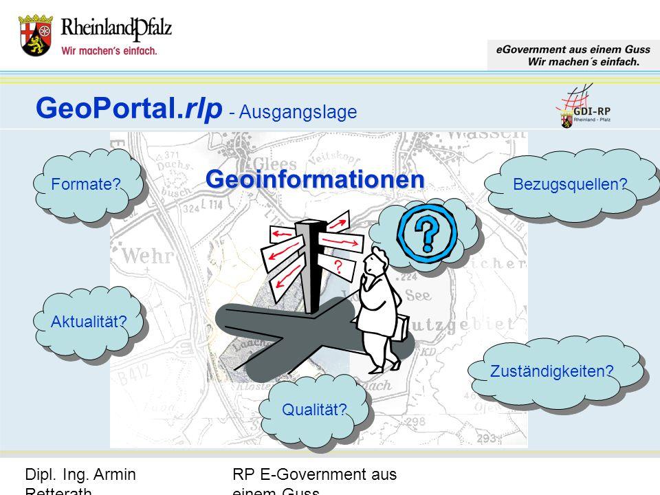 RP E-Government aus einem Guss Dipl. Ing. Armin Retterath, LVermGeo – KGSt. GDI-RP - Seite 9 GeoPortal.rlp - Ausgangslage Zuständigkeiten? Bezugsquell