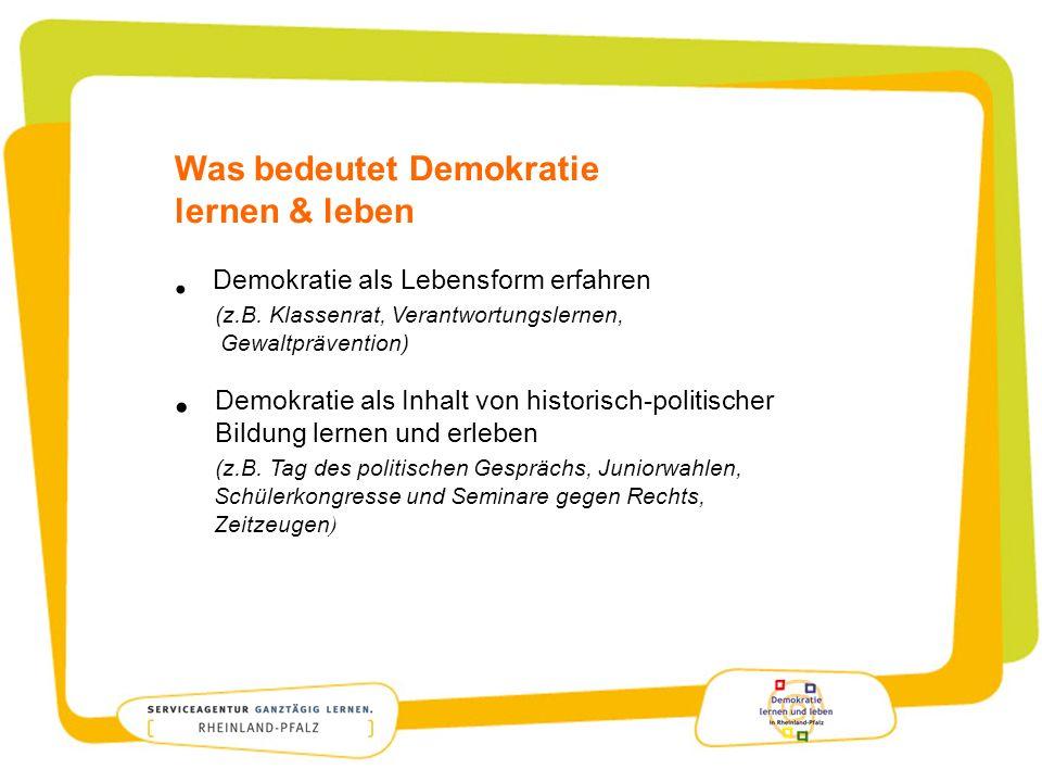 Was bedeutet Demokratie lernen & leben Demokratie als Lebensform erfahren (z.B. Klassenrat, Verantwortungslernen, Gewaltprävention) Demokratie als Inh