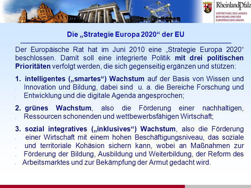 Die Strategie Europa 2020 der EU ___________________________________________________________________________________________ Der Europäische Rat hat i