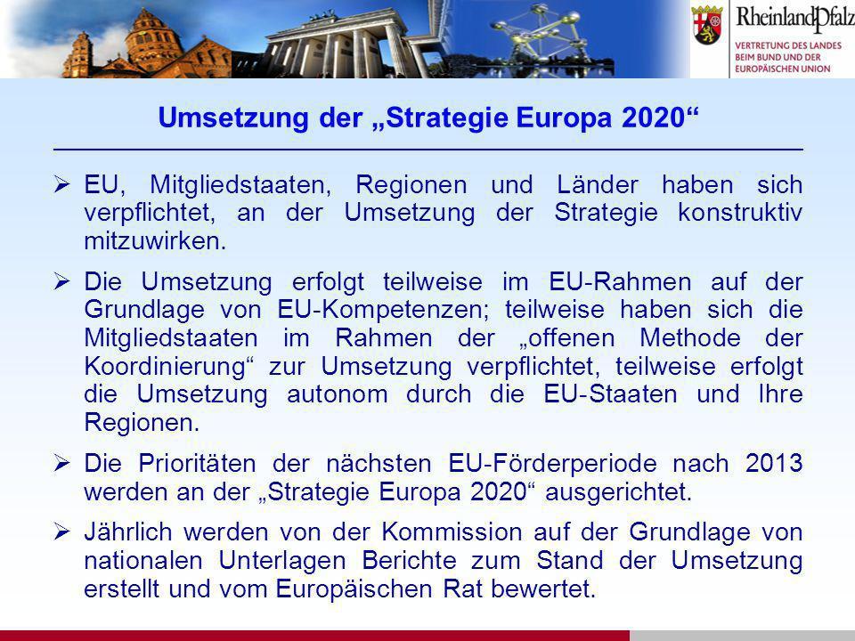 Umsetzung der Strategie Europa 2020 _______________________________________________________________________________________________ EU, Mitgliedstaate