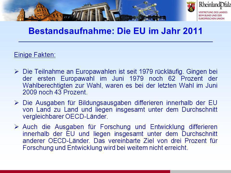 Bestandsaufnahme: Die EU im Jahr 2011 ____________________________________________________________________ Einige Fakten: Die Teilnahme an Europawahle