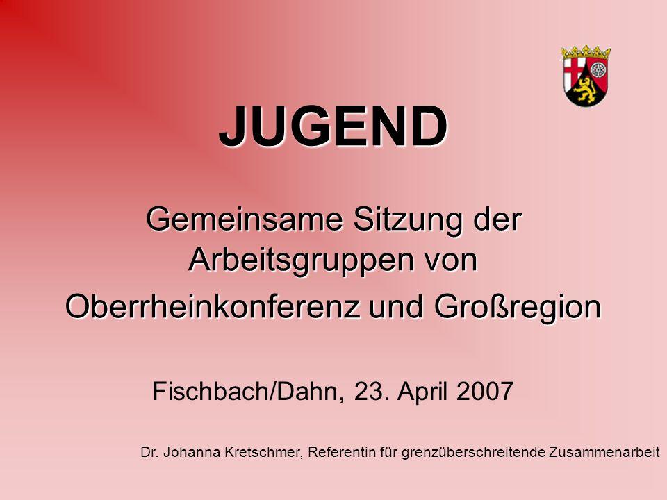 JUGEND Gemeinsame Sitzung der Arbeitsgruppen von Oberrheinkonferenz und Großregion Fischbach/Dahn, 23.