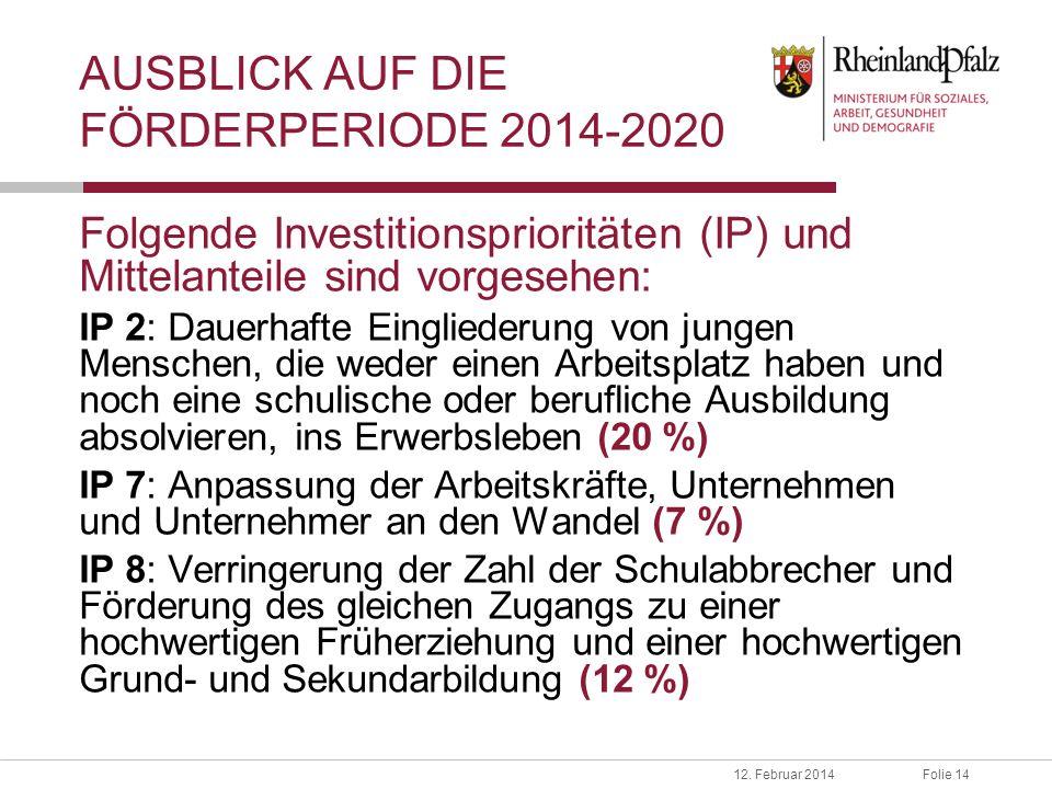 Folie 1412. Februar 2014 AUSBLICK AUF DIE FÖRDERPERIODE 2014-2020 Folgende Investitionsprioritäten (IP) und Mittelanteile sind vorgesehen: IP 2: Dauer