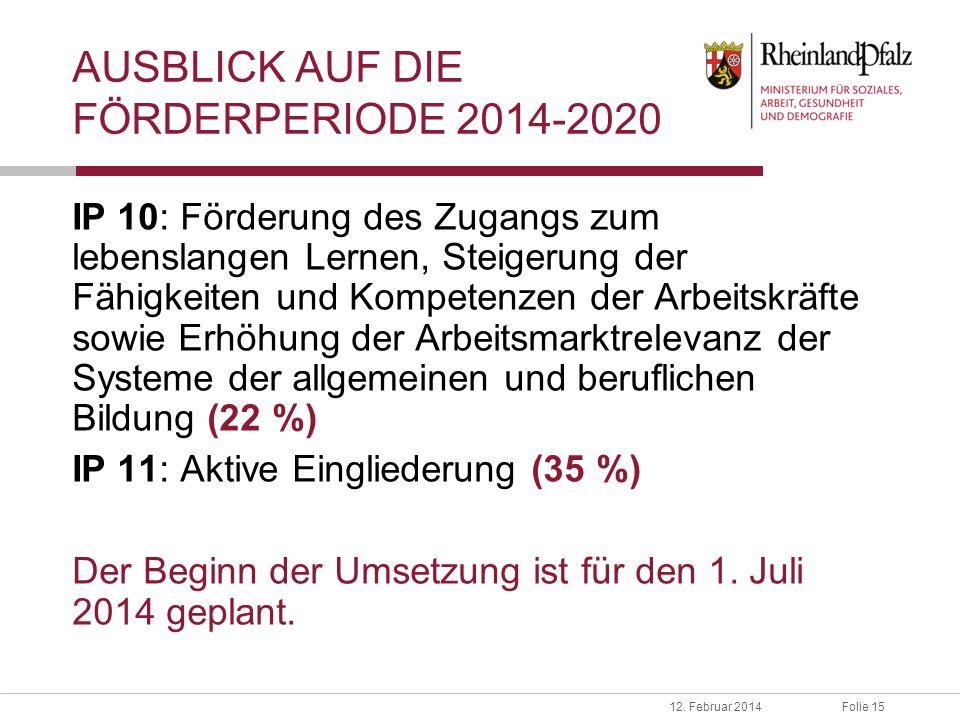 Folie 1512. Februar 2014 AUSBLICK AUF DIE FÖRDERPERIODE 2014-2020 IP 10: Förderung des Zugangs zum lebenslangen Lernen, Steigerung der Fähigkeiten und