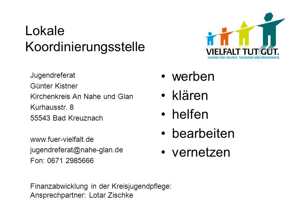 Lokale Koordinierungsstelle werben klären helfen bearbeiten vernetzen Jugendreferat Günter Kistner Kirchenkreis An Nahe und Glan Kurhausstr. 8 55543 B