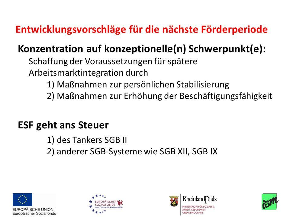 Konzentration auf konzeptionelle(n) Schwerpunkt(e): Schaffung der Voraussetzungen für spätere Arbeitsmarktintegration durch 1) Maßnahmen zur persönlic