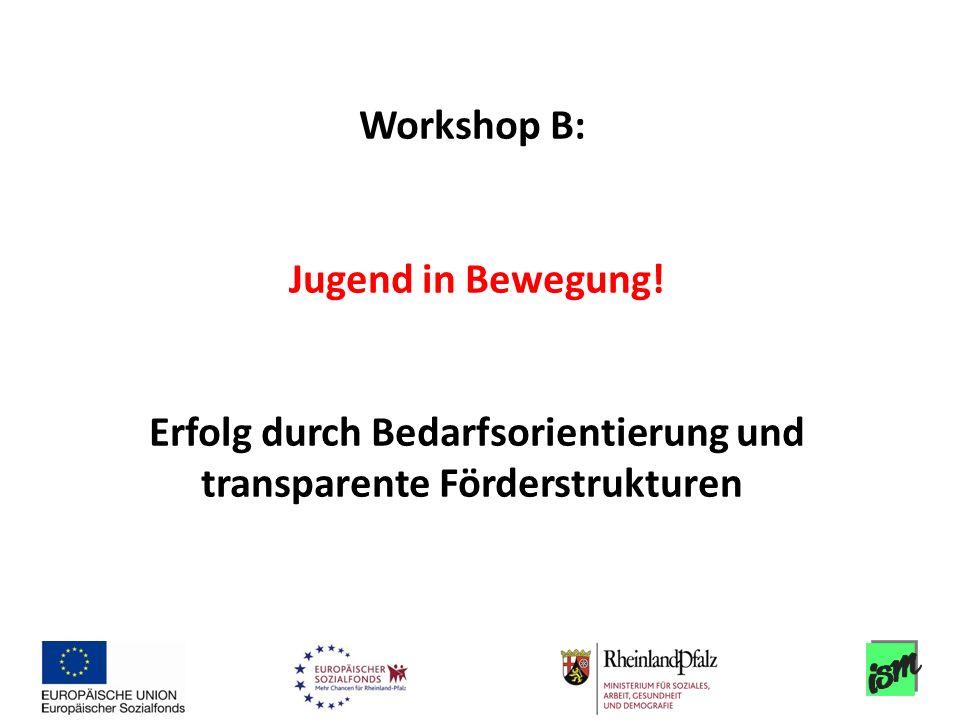 Workshop B: Jugend in Bewegung! Erfolg durch Bedarfsorientierung und transparente Förderstrukturen