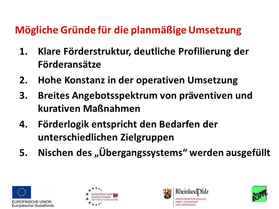 1.Klare Förderstruktur, deutliche Profilierung der Förderansätze 2.Hohe Konstanz in der operativen Umsetzung 3.Breites Angebotsspektrum von präventive