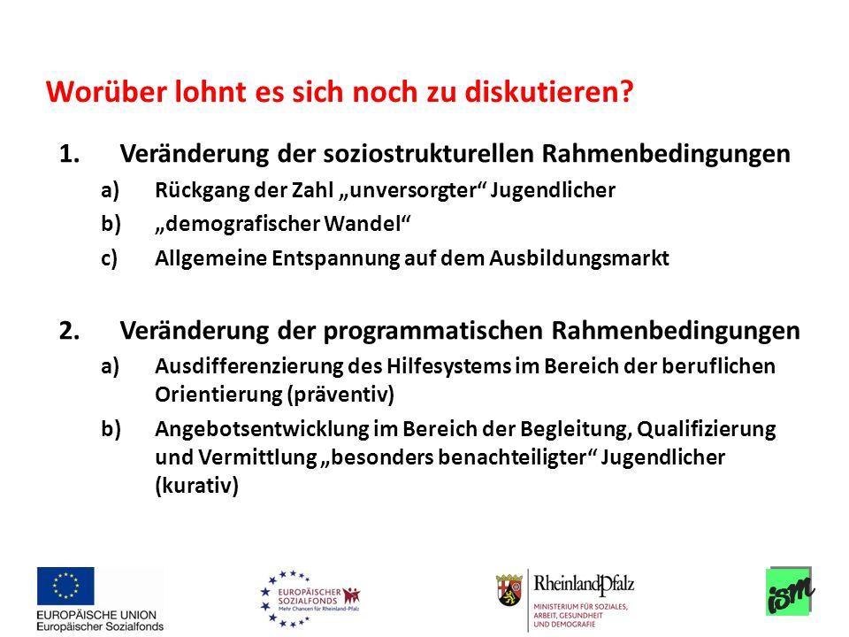 1.Veränderung der soziostrukturellen Rahmenbedingungen a)Rückgang der Zahl unversorgter Jugendlicher b)demografischer Wandel c)Allgemeine Entspannung