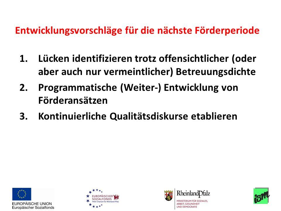 1.Lücken identifizieren trotz offensichtlicher (oder aber auch nur vermeintlicher) Betreuungsdichte 2.Programmatische (Weiter-) Entwicklung von Förder