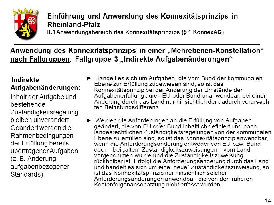 14 Indirekte Aufgabenänderungen: Inhalt der Aufgabe und bestehende Zuständigkeitsregelung bleiben unverändert.