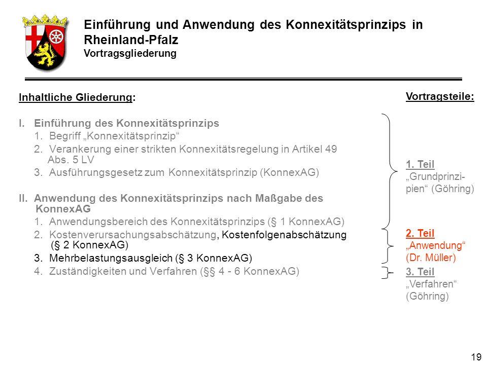 19 Inhaltliche Gliederung: I.Einführung des Konnexitätsprinzips 1.