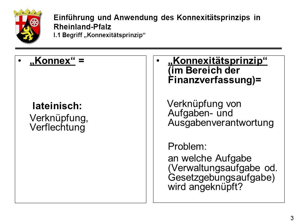 3 Konnex = lateinisch: Verknüpfung, Verflechtung Konnexitätsprinzip (im Bereich der Finanzverfassung)= Verknüpfung von Aufgaben- und Ausgabenverantwortung Problem: an welche Aufgabe (Verwaltungsaufgabe od.