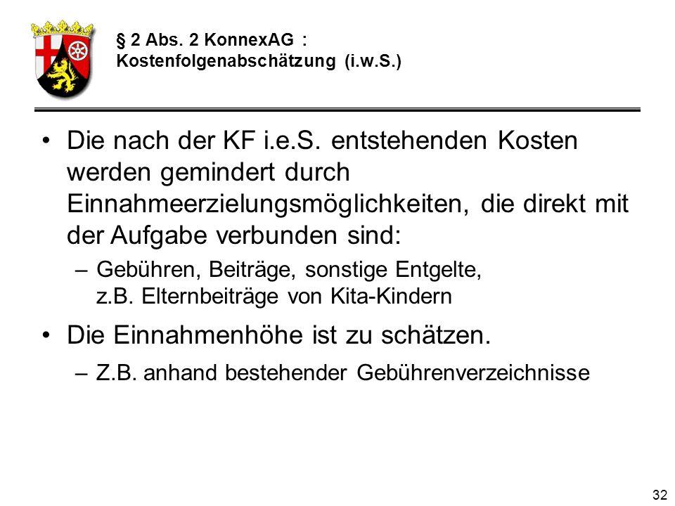 32 § 2 Abs.2 KonnexAG : Kostenfolgenabschätzung (i.w.S.) Die nach der KF i.e.S.
