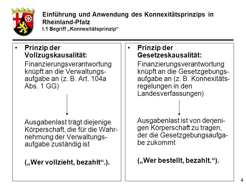 4 Prinzip der Vollzugskausalität: Finanzierungsverantwortung knüpft an die Verwaltungs- aufgabe an (z.